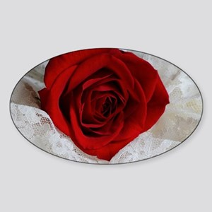 Wonderful Red Rose Sticker (Oval)
