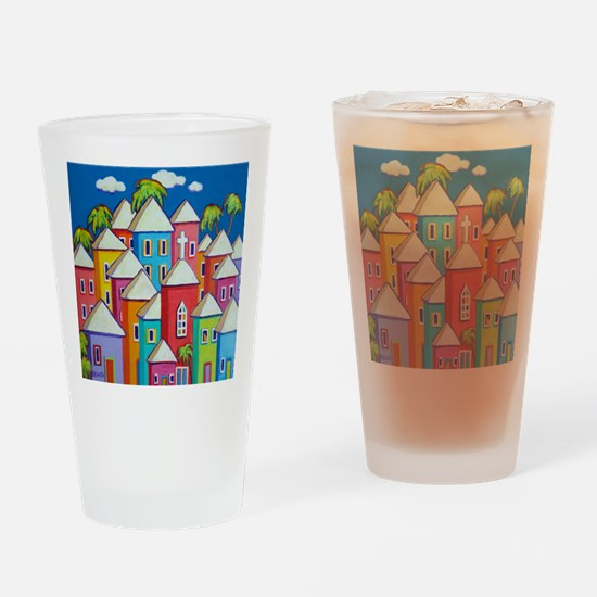 Tropical Colorful Houses Shower Cur Drinking Glass