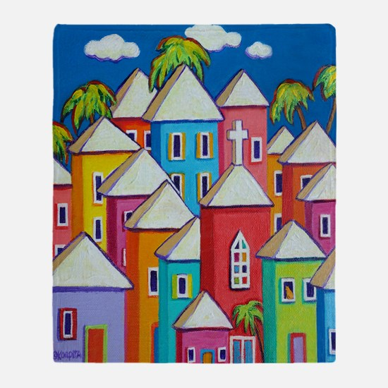 Tropical Colorful Houses Shower Curt Throw Blanket