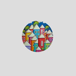 Tropical Colorful Houses Shower Curtai Mini Button