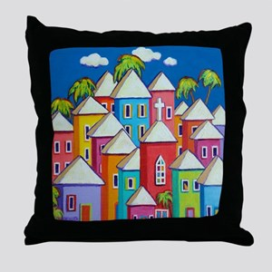 Tropical Colorful Houses Shower Curta Throw Pillow