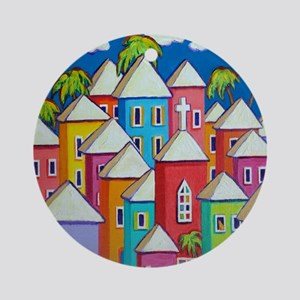 Tropical Colorful Houses Shower Cur Round Ornament
