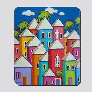 Tropical Colorful Houses Shower Curtain Mousepad