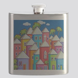 Tropical Colorful Houses Shower Curtain Flask