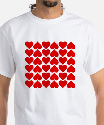 Red Heart of Love White T-Shirt
