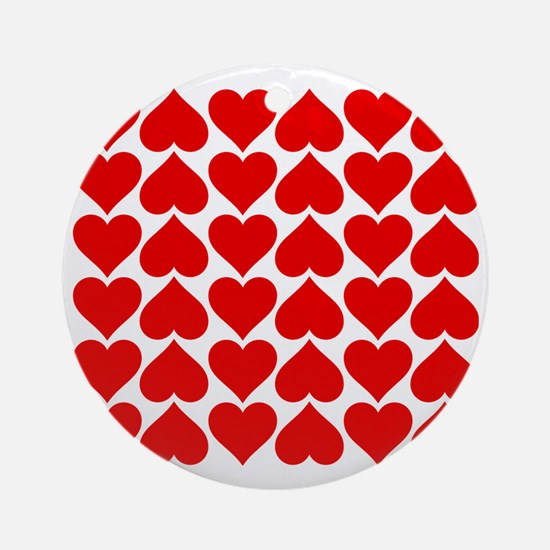 Red Heart of Love Round Ornament