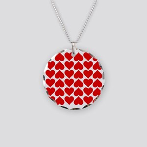 Red Heart of Love Necklace Circle Charm