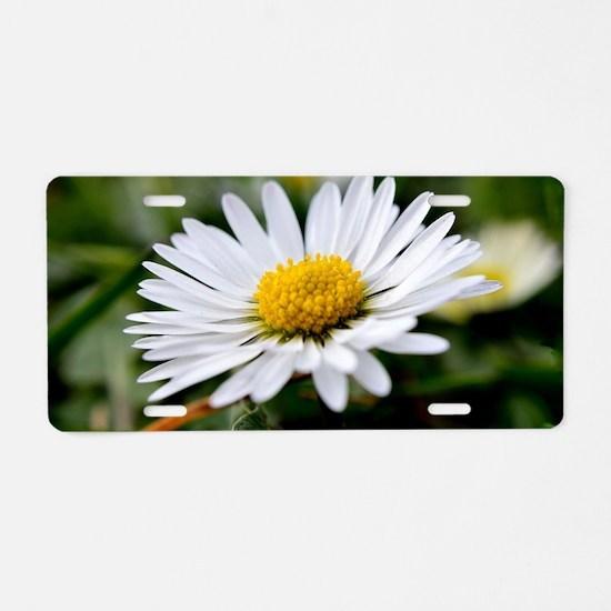 White Flower Aluminum License Plate