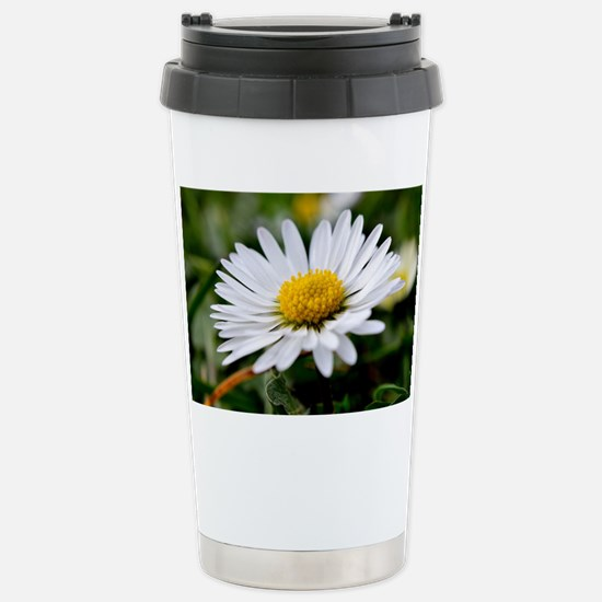 White Flower Stainless Steel Travel Mug