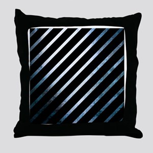 Blue And Black Striped Unique Throw Pillow