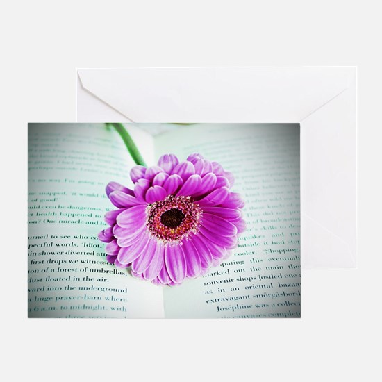 Wonderful Flower with Book Greeting Card