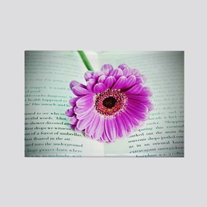Wonderful Flower with Book Rectangle Magnet