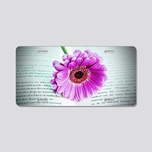 Wonderful Flower with Book Aluminum License Plate