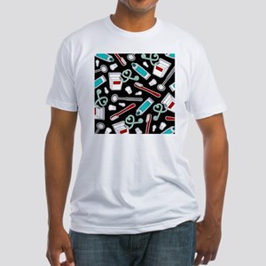 Dental Print Black with Red and Blu Fitted T-Shirt