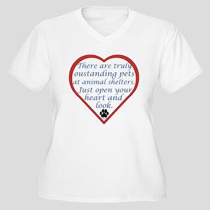 Open Your Heart Women's Plus Size V-Neck T-Shirt