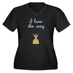 Love the Wag Women's Plus Size V-Neck Dark T-Shirt