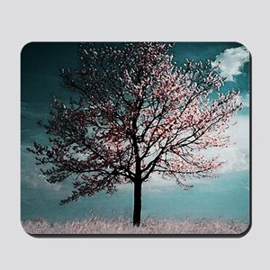 Cherry Blossom Tree - Pink and Blue Mousepad