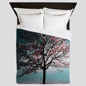 Cherry Blossom Tree - Pink and Blue Queen Duvet