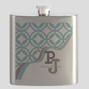 Gray Mint Quatrefoil Monogram Flask