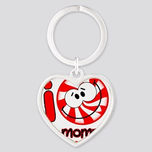 i love my mommy...Peppermint Smiley Heart Keychain