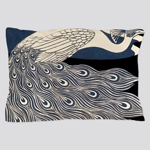 Art Nouveau Peacock Poster Pillow Case