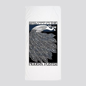Art Nouveau Peacock Poster Beach Towel