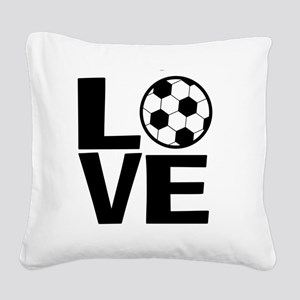 Love Soccer Square Canvas Pillow