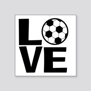 "Love Soccer Square Sticker 3"" x 3"""