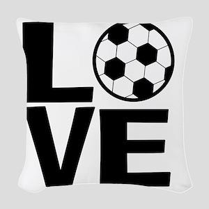 Love Soccer Woven Throw Pillow
