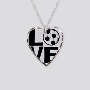 Love Soccer Necklace Heart Charm