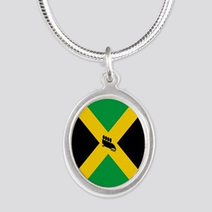 Team Jamaica Bobsled Silver Oval Necklace
