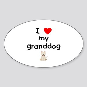 I love my granddog (westie) Sticker (Oval)