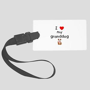 I love my granddog (bulldog) Large Luggage Tag