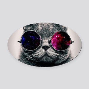 Space cat Oval Car Magnet
