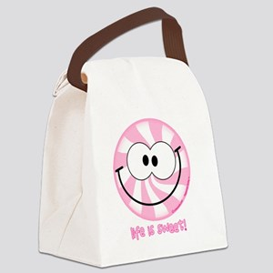 Pink Peppermint Smiley Canvas Lunch Bag
