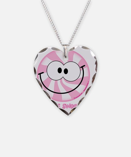 Pink Peppermint Smiley Necklace