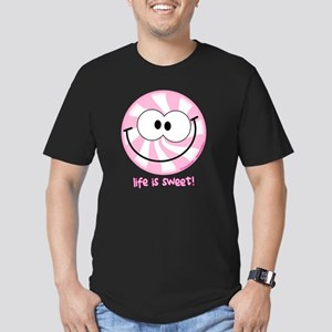 Pink Peppermint Smiley Men's Fitted T-Shirt (dark)