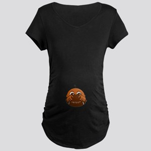 Baby Peeking Behind A Football Maternity T-Shirt
