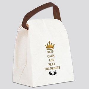 KEEP CALM AND PRAY FOR PRIESTS Canvas Lunch Bag