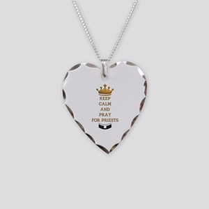 KEEP CALM AND PRAY FOR PRIESTS Necklace Heart Char