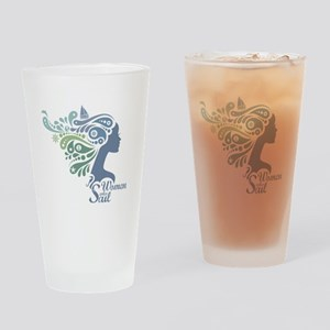 Woman Who Sail Logo Drinking Glass