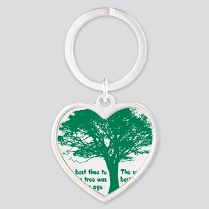 Plant a Tree Now Heart Keychain