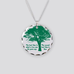 Plant a Tree Now Necklace Circle Charm