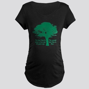 Plant a Tree Now Maternity Dark T-Shirt
