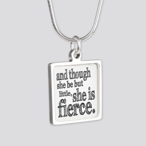 She is Fierce Shakespeare Silver Square Necklace