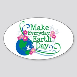 Make Everyday Earth Day Oval Sticker