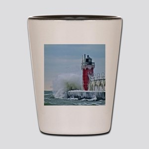 Lighthouse at South Haven Harbor, Michi Shot Glass