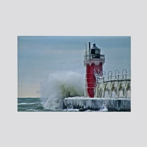 Lighthouse at South Haven Harbor, Rectangle Magnet
