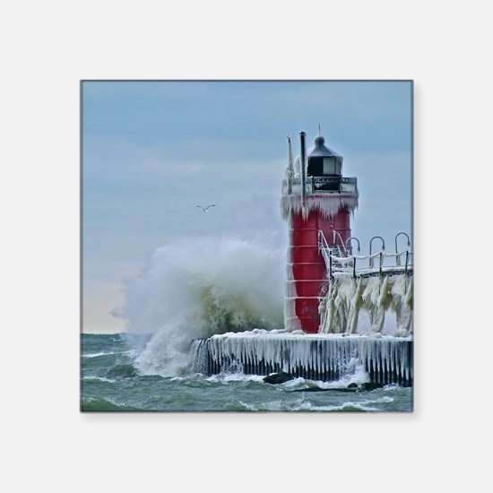 "Lighthouse at South Haven H Square Sticker 3"" x 3"""