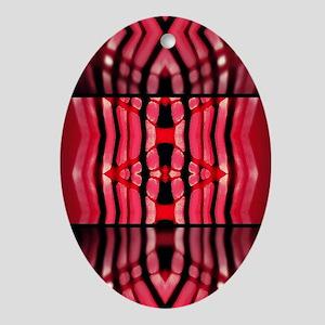 Chevron red hot Oval Ornament